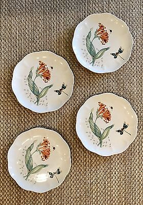 "4 Lenox Butterfly Meadow Dragonfly Accent Salad Dinner 9"" Plates"