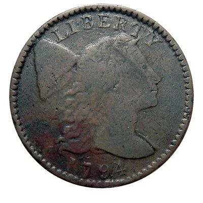 Large cent/penny 1793 Sheldon 10 rarity 4, steely brown surface