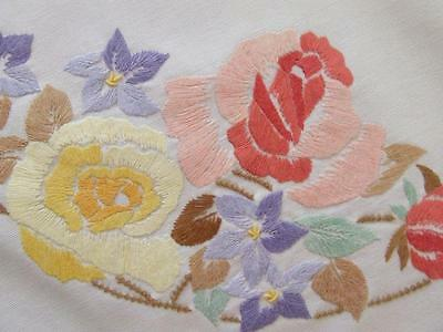Superbly Hand Embroidered Vintage Tablecloth -Colourful Roses - Crocheted Edging