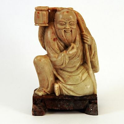 Hand Carved Chinese Soapstone Sitting Bearded Wiseman Carrying Basket