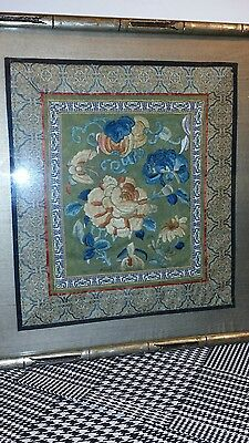 Antique Chinese Silk Forbidden Stitch Embroidered Floral Embroidery Framed