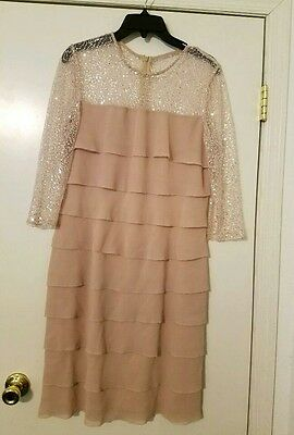 ALEX EVENING Size 12 Tiered Dress Champagne Mother of The Bride / Groom EUC $160