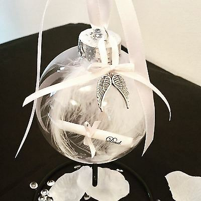 Remembrance Memory Bauble Feathers & Personalised Scroll Anytime Keepsake