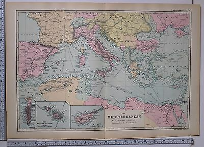 World maps maps atlases globes antiques page 82 picclick 1891 antique map mediterranean turkey greece italy spain algeria gumiabroncs Images