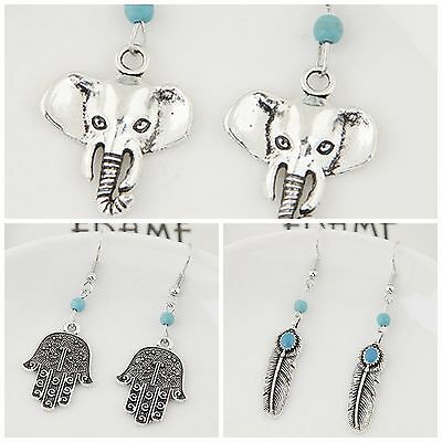 Pair of antique silver & turquoise dangle earrings boho tribal hippy ethnic