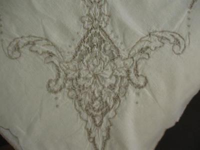 Vintage Antique Cut Work Embroidery Tablecloth-64x82-Linen-Excellent Condition
