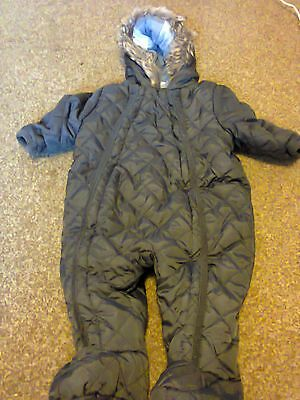Florence & Fred Baby Boy Quilted Dark Grey Snowsuit All In One Coat 0-3 Months