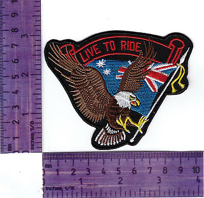 Live to Ride Australian Flag / Eagle Bikers Embroidered Patch / Badge