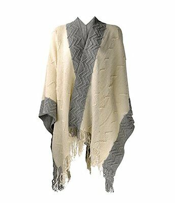 ZLYC Women Soft Textured Knit Blanket Wrap Fringe Poncho with Contrast Trims Bei