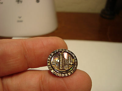 Antique steel cup DYED pearl brass CASTLE design button