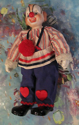 ENESCO PORCELAIN and FABRIC BOZO STYLE CLOWN DOLL with original box
