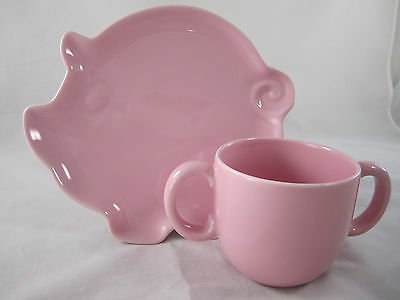 Tiffany & Co. Tots Child's Porcelain Pink Pig Plate Double Handled Cup Set