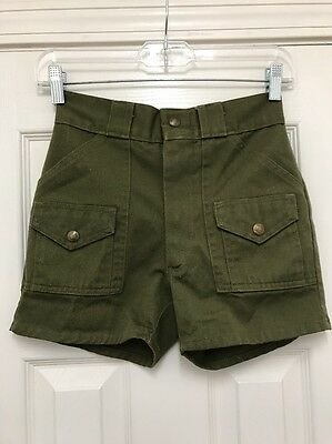"""Vintage Boy Scouts Of America Size M 24"""" Waist Official Green Shorts"""