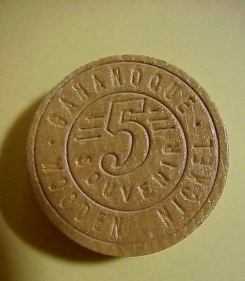 GANANOQUE Thousand Islands 5c SOUVENIR WOODEN NICKEL