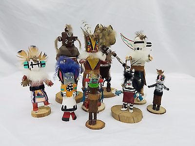 Native American Lot of 9 Kachina Dolls Signed Hand Carved & Painted Figures