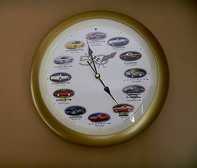 Gm Chevrolet Corvette 50Th Anniversary Wall Clock Engine Sounds 2003 Man Cave