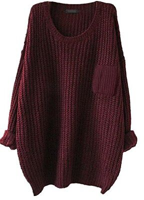 Womens Casual Unbalanced Crew Neck Knit Sweater Loose Pullover Cardigan Burgundy