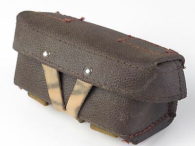 Vintage Leather and  Green Canvas Belt Loops Military Pouch Ammo Cartridge A