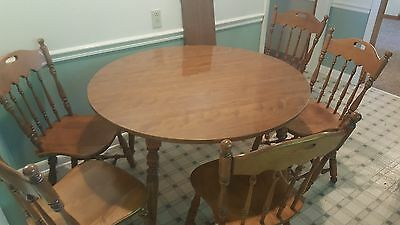 Ethan Allen Heirloom Nutmeg Maple 42 Round Table Chairs W Formica Top 10