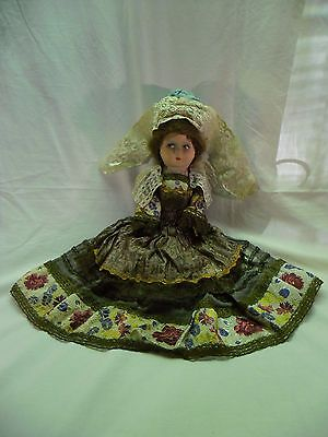 "Antique 14"" Papier Mache Doll in Original Clothing & Lovely Painted Face!"