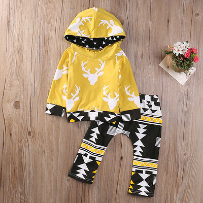18-24M Baby Boys Hoodies Deer Hooded Coats +Pants 2PCS Outfits Clothes Sets USA