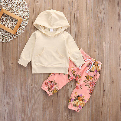 3-6M Baby Girls Long Sleeve T-shirt Top+Pants Outfits 2PCS Hooded Clothes Set