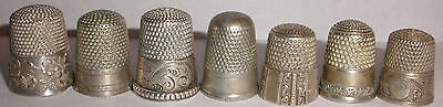 Lot Of 7 Antique Sterling Silver Decorated Thimble