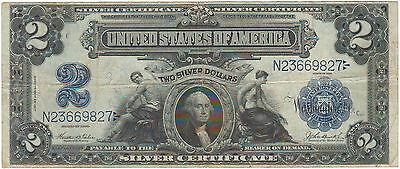 1899 Fr. 256 $2 Two Dollars Silver Certificate Large Note Bill Apparent F/VF