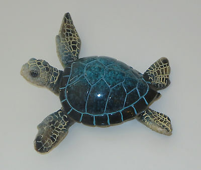"Sea Turtle Figurine Blue Sealife Wild Animal 4 1/2"" Wide New Sold Individually"
