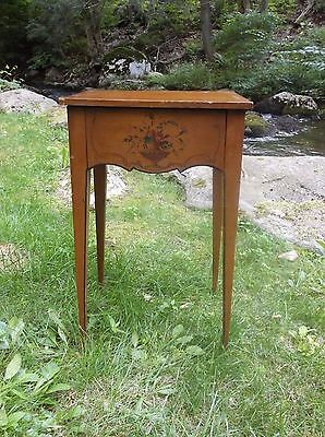 Antique Style Vintage Floral Urn Motif Single Drawer Decorator Side Table