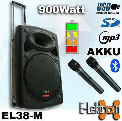 15 inch 900W Mobile PA Sound System Battery BT/MP3/USB/SD Mic Portable Speaker
