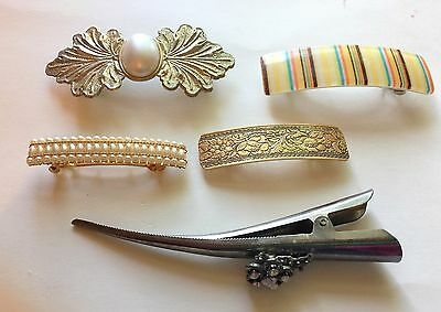 Vintage Lot of 5 Hair Barrettes & Clips Gold Tone Metal Plastic and White Beads