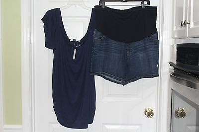 2pc NWT Old Navy/Liz Lange XXL Over Belly Flex Panel Denim Shorts & Shirt Matern