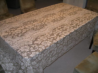 Large Old 124 Inch By 70 Inch Table Cloth