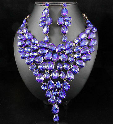 Sparkle Drops Sapphire Austrian Rhinestone Necklace Earrings Set Pageant N816s