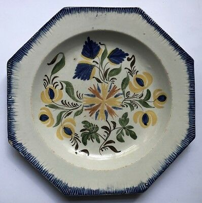 Antique STAFFORDSHIRE SMALL OCTAGONAL PLATE w 5 COLOR DECORATION, c. 1800-25