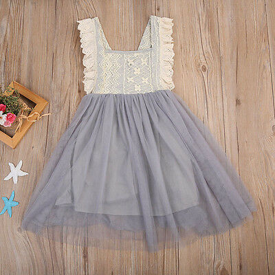5-6Y Girls Princess Dress Kids Baby Party Wedding Pageant Lace Dresses Clothes
