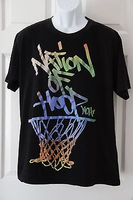 NATION OF HOOP Men's Graphic Tee T-Shirt Size Large Black 100% Cotton