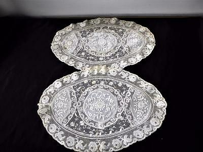 2 Antique French Normandy Mixed Lace Oval Doilies