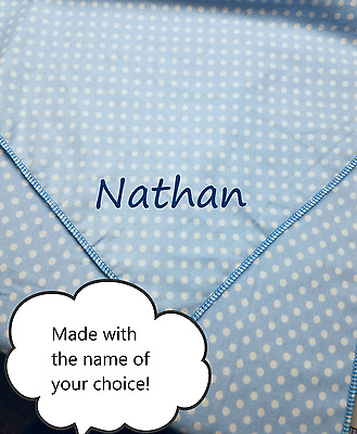 New Custom Receiving Blanket Swaddle Baby Blue Polka Dots Embroidered Name