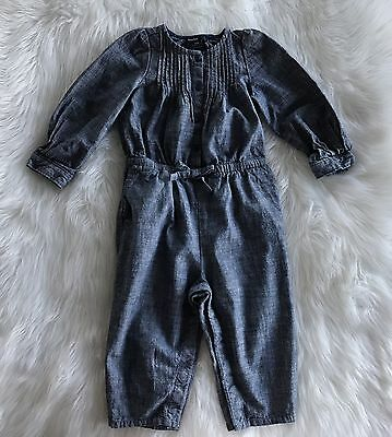 BABY GAP Toddler Girls Blue Chambray Pants Romper Outfit Size 12-18 Months