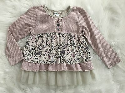 NAARTJIE Floral Tulle Long Sleeve Layer Top Shirt Size 2T EUC (099)