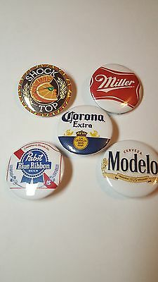 5 Beer buttons/pins (1inch)