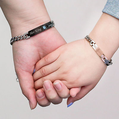 2pcs His Queen Her King His and Hers Silver Chain Couple Lover Charm Bracelet