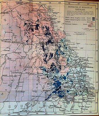 Coloured Map of Distribution of Brigalow in Queensland 1958