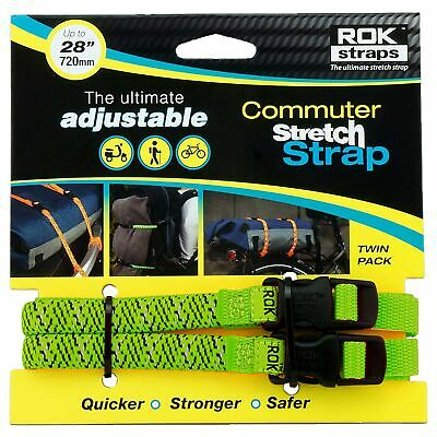 Oxford Motorcycle / Bike Rok Straps - LD 12mm Adjustable Green Reflective