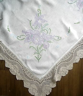 Vintage Hand Embroidered Flower Hand Crochet Lace Edge Linen Tablecloth Need Tlc