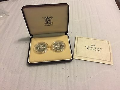 1989 Royal Mint Silver Double Thick Piedfort Proof £2/two Pound Coins