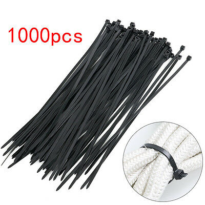 1000 x Bulk Cable Ties Zip Ties Black Nylon UV Stabilised Size 4.8mm x 300mm