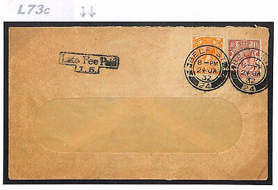 DBL73c 1932 GB IRELAND LATE MAIL Belfast Cover *Late Fee Paid* Window Envelope